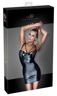 Noir - fűzős, lakk mellrészes, fényes ruha (fekete)