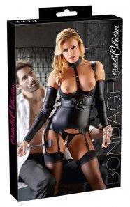 Cottelli Bondage - fényes, nyitott felső kézrögzítőkkel (fekete)