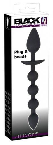 Black Velvet - anál kúp és anál gyöngysor (fekete)
