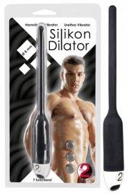 DILATOR - szilikon húgycsővibrátor - fekete (8mm)