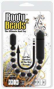 Booty Beads 2 - hajlítható, gyöngyös anál vibrátor (fekete)